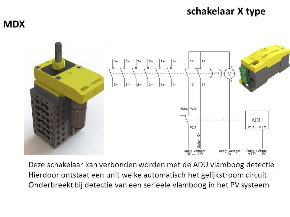 Santon motor aangedreven gelijkstroom schakelaar X type MDX Deze schakelaar kan verbonden worden met de ADU vlamboog detectie Hierdoor ontstaat een unit welke automatisch het gelijkstroom circuit Onderbreekt bij detectie van een serieele vlamboog in het PV systeem