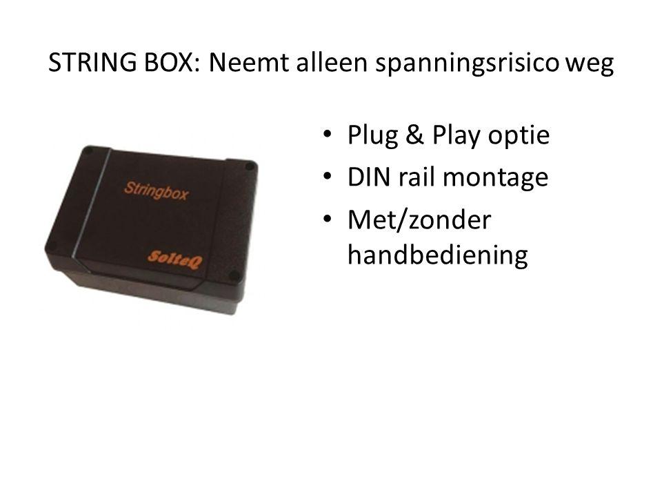 STRING BOX: Neemt alleen spanningsrisico weg • Plug & Play optie • DIN rail montage • Met/zonder handbediening