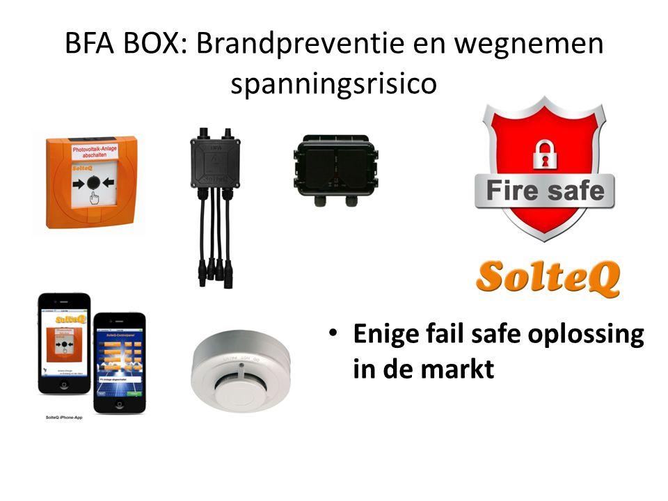 BFA BOX: Brandpreventie en wegnemen spanningsrisico • Enige fail safe oplossing in de markt