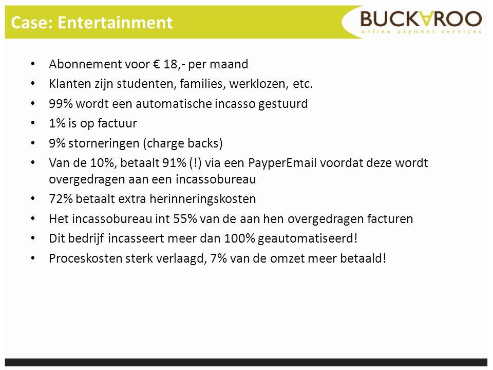 Case: Entertainment • Abonnement voor € 18,- per maand • Klanten zijn studenten, families, werklozen, etc. • 99% wordt een automatische incasso gestuu