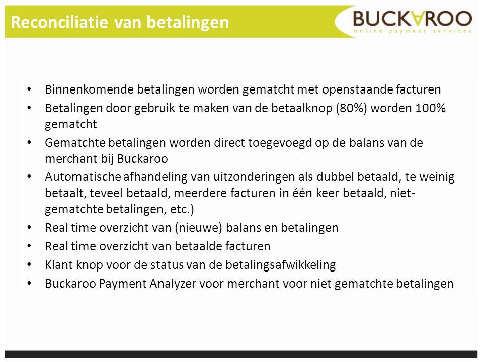 Reconciliatie van betalingen • Binnenkomende betalingen worden gematcht met openstaande facturen • Betalingen door gebruik te maken van de betaalknop