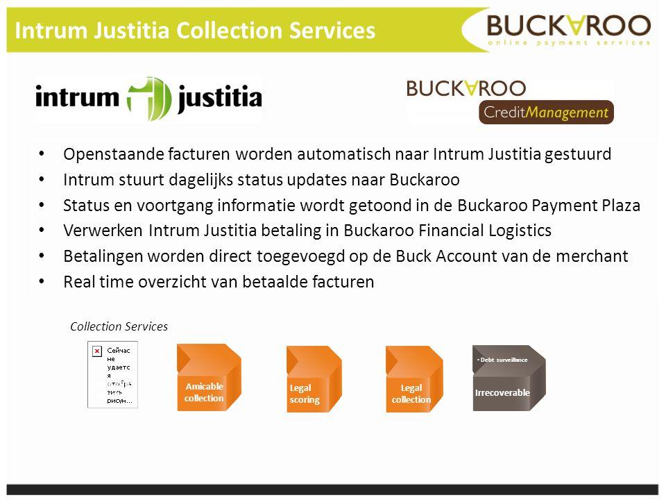 Intrum Justitia Collection Services • Openstaande facturen worden automatisch naar Intrum Justitia gestuurd • Intrum stuurt dagelijks status updates n
