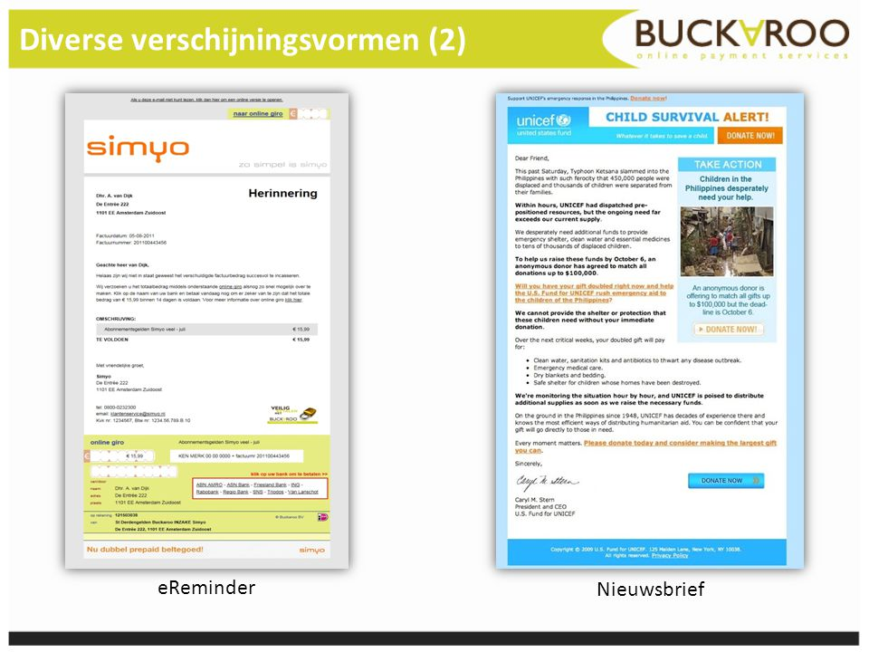 Diverse verschijningsvormen (2) eReminder Nieuwsbrief