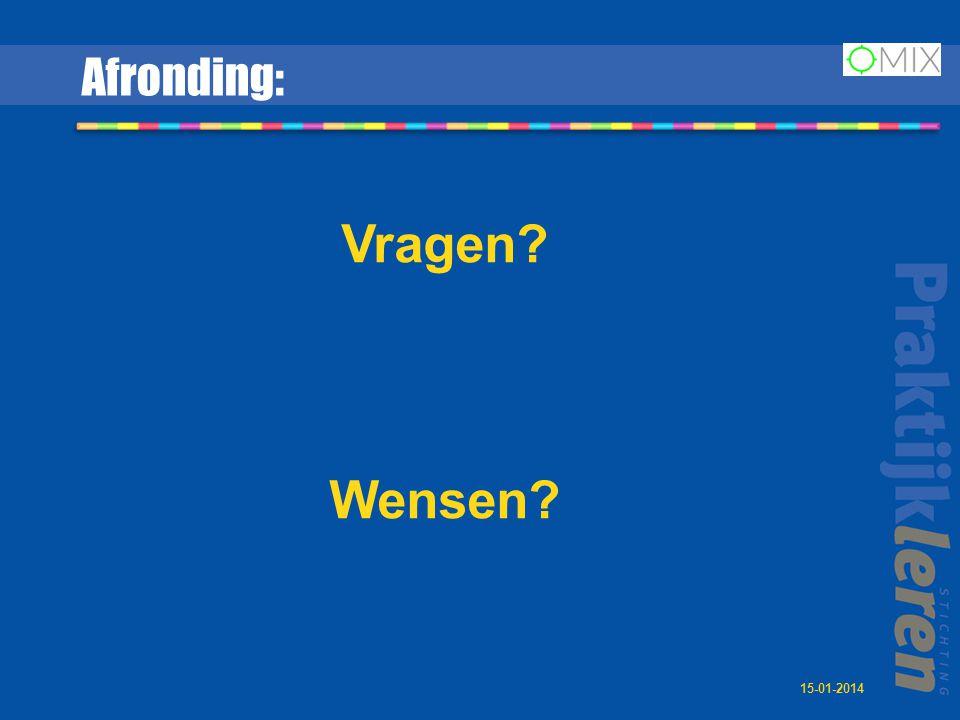 Afronding: Vragen? Wensen? 15-01-2014