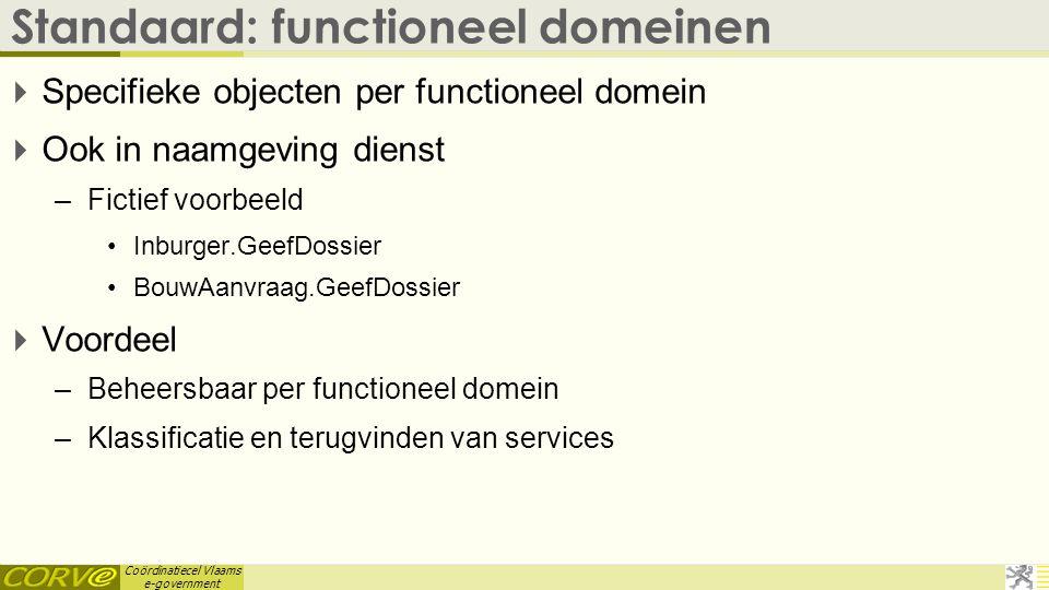 Coördinatiecel Vlaams e-government Standaard: functioneel domeinen  Specifieke objecten per functioneel domein  Ook in naamgeving dienst –Fictief vo