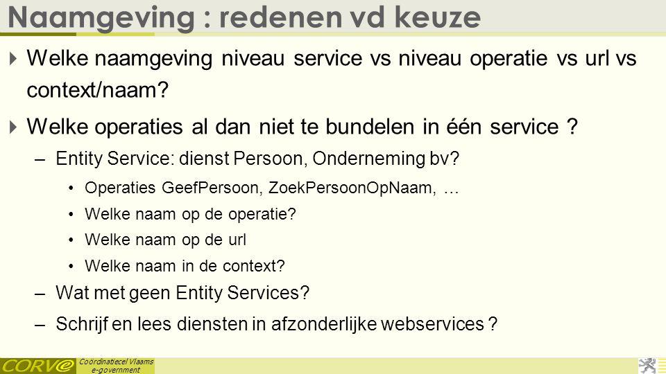 Coördinatiecel Vlaams e-government Naamgeving : redenen vd keuze  Welke naamgeving niveau service vs niveau operatie vs url vs context/naam?  Welke