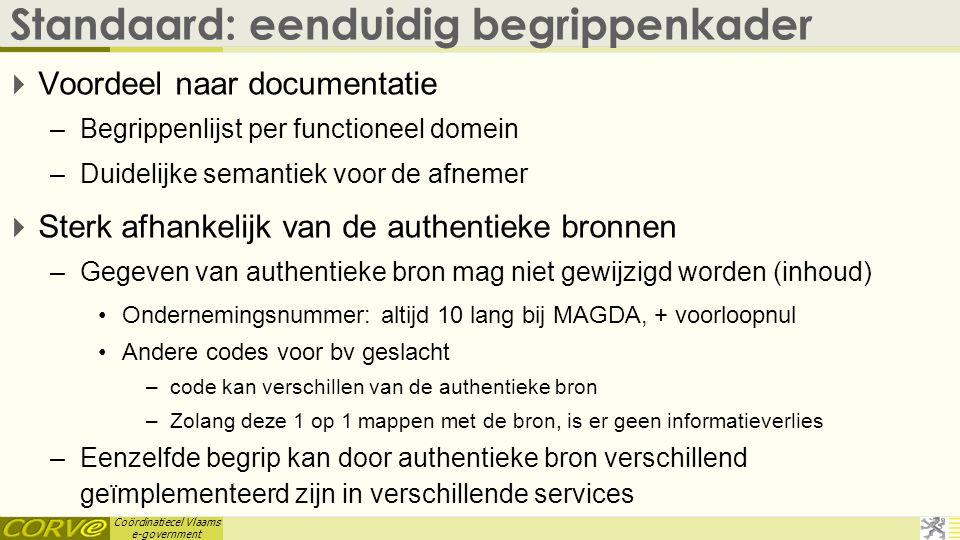 Coördinatiecel Vlaams e-government Standaard: eenduidig begrippenkader  Voordeel naar documentatie –Begrippenlijst per functioneel domein –Duidelijke