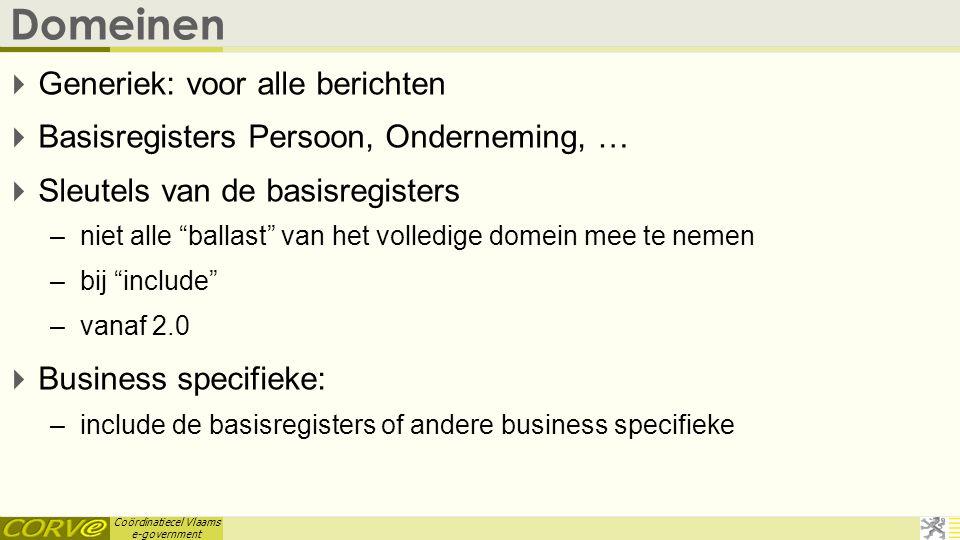 Coördinatiecel Vlaams e-government Domeinen  Generiek: voor alle berichten  Basisregisters Persoon, Onderneming, …  Sleutels van de basisregisters