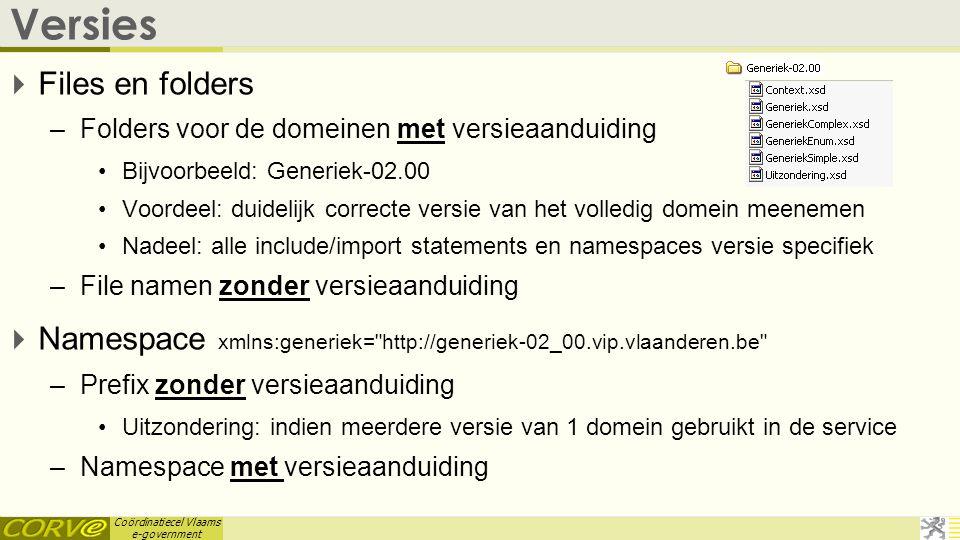 Coördinatiecel Vlaams e-government Versies  Files en folders –Folders voor de domeinen met versieaanduiding •Bijvoorbeeld: Generiek-02.00 •Voordeel: