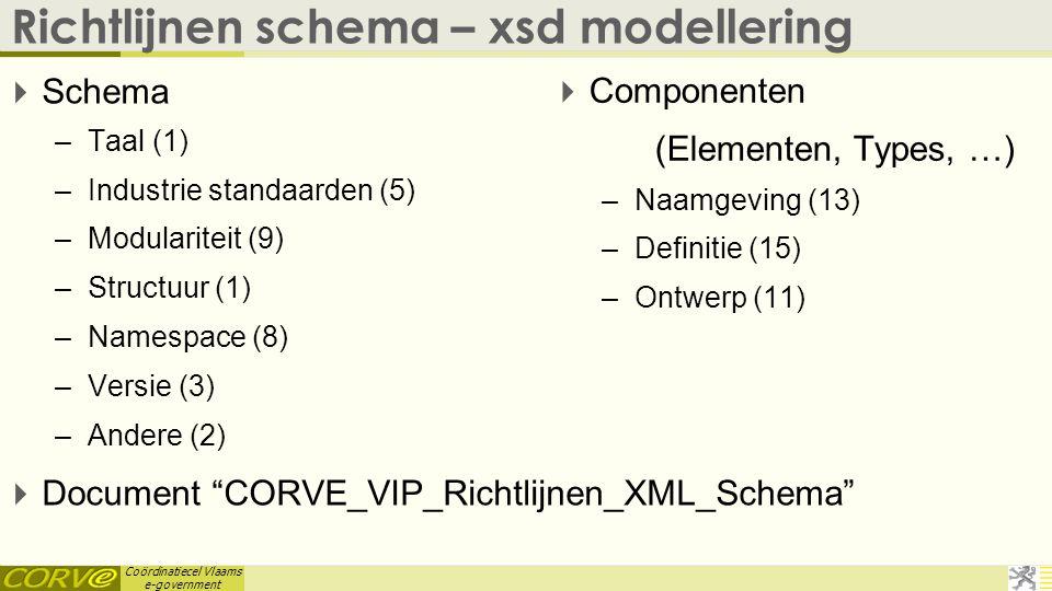 Coördinatiecel Vlaams e-government Richtlijnen schema – xsd modellering  Schema –Taal (1) –Industrie standaarden (5) –Modulariteit (9) –Structuur (1)