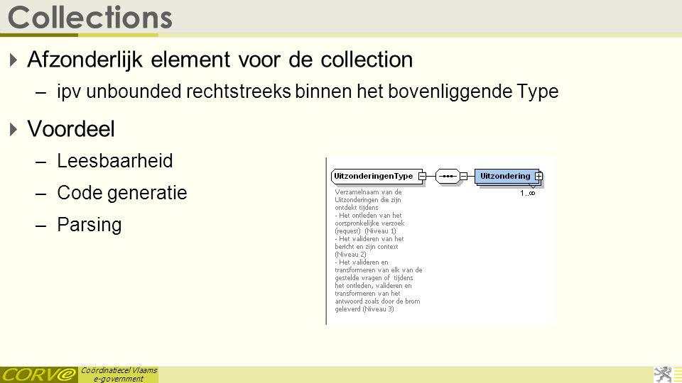 Coördinatiecel Vlaams e-government Collections  Afzonderlijk element voor de collection –ipv unbounded rechtstreeks binnen het bovenliggende Type  V