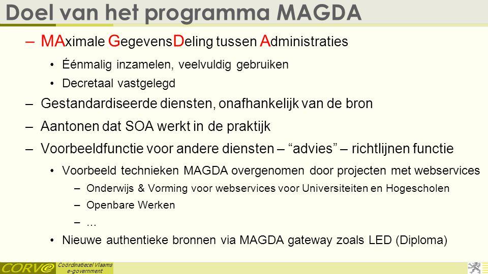 Coördinatiecel Vlaams e-government Doel van het programma MAGDA –MA ximale G egevens D eling tussen A dministraties •Éénmalig inzamelen, veelvuldig ge