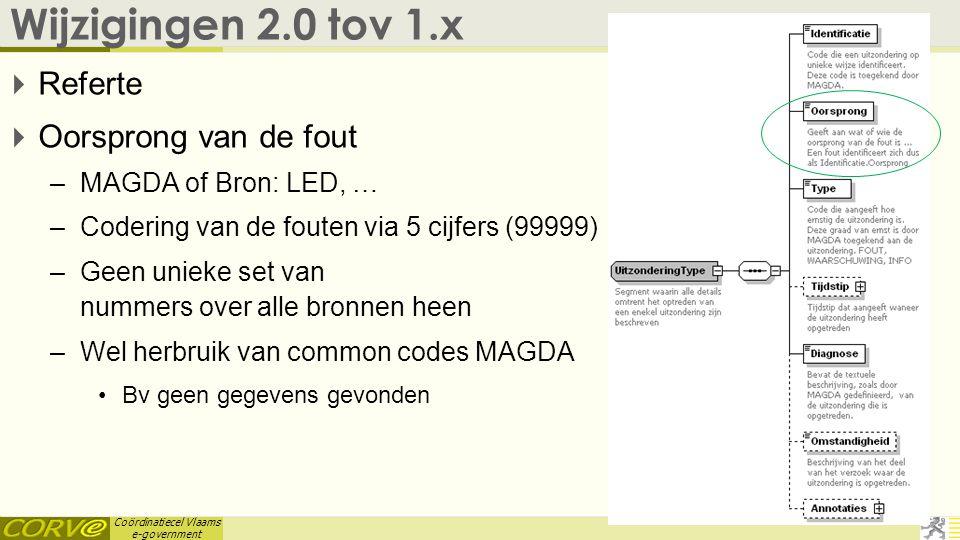 Coördinatiecel Vlaams e-government Wijzigingen 2.0 tov 1.x  Referte  Oorsprong van de fout –MAGDA of Bron: LED, … –Codering van de fouten via 5 cijf