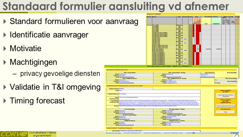 Coördinatiecel Vlaams e-government Standaard formulier aansluiting vd afnemer  Standard formulieren voor aanvraag  Identificatie aanvrager  Motivat