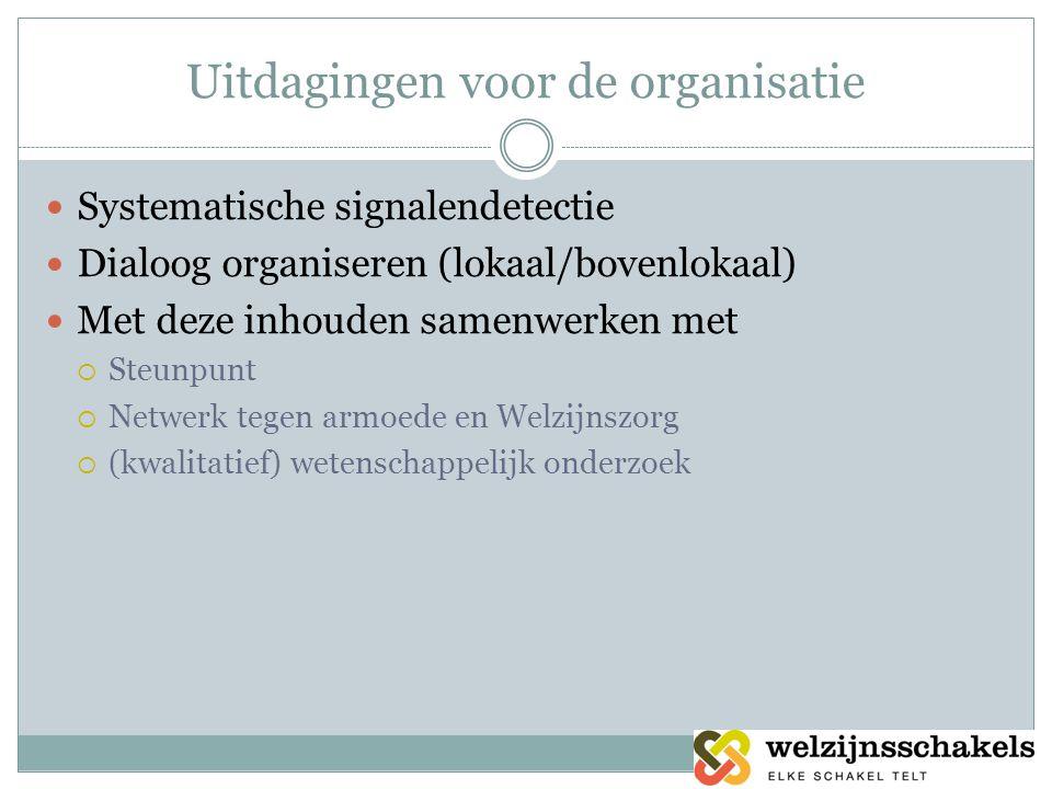 Uitdagingen voor de organisatie  Systematische signalendetectie  Dialoog organiseren (lokaal/bovenlokaal)  Met deze inhouden samenwerken met  Steunpunt  Netwerk tegen armoede en Welzijnszorg  (kwalitatief) wetenschappelijk onderzoek