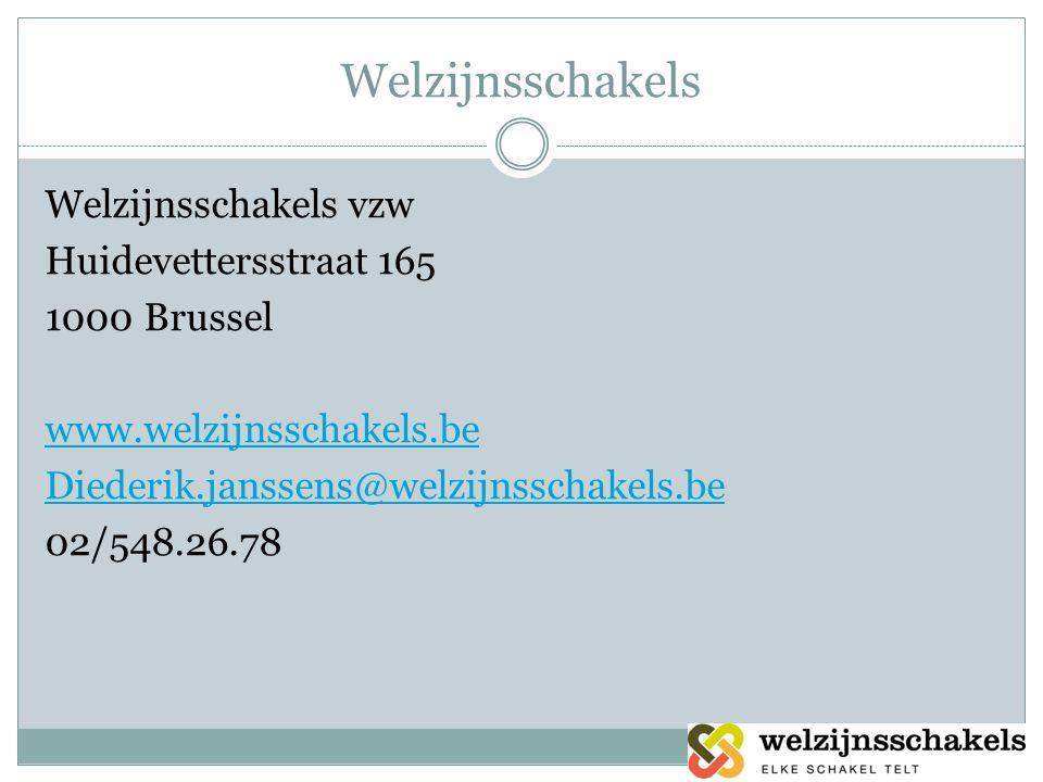 Welzijnsschakels Welzijnsschakels vzw Huidevettersstraat 165 1000 Brussel www.welzijnsschakels.be Diederik.janssens@welzijnsschakels.be 02/548.26.78