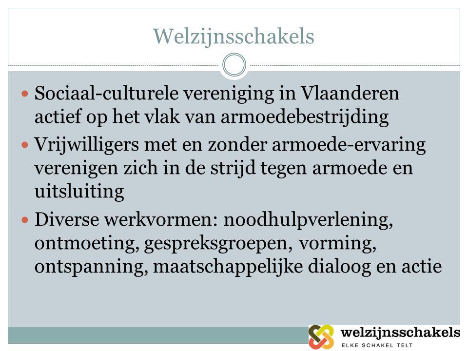 Welzijnsschakels  Sociaal-culturele vereniging in Vlaanderen actief op het vlak van armoedebestrijding  Vrijwilligers met en zonder armoede-ervaring verenigen zich in de strijd tegen armoede en uitsluiting  Diverse werkvormen: noodhulpverlening, ontmoeting, gespreksgroepen, vorming, ontspanning, maatschappelijke dialoog en actie