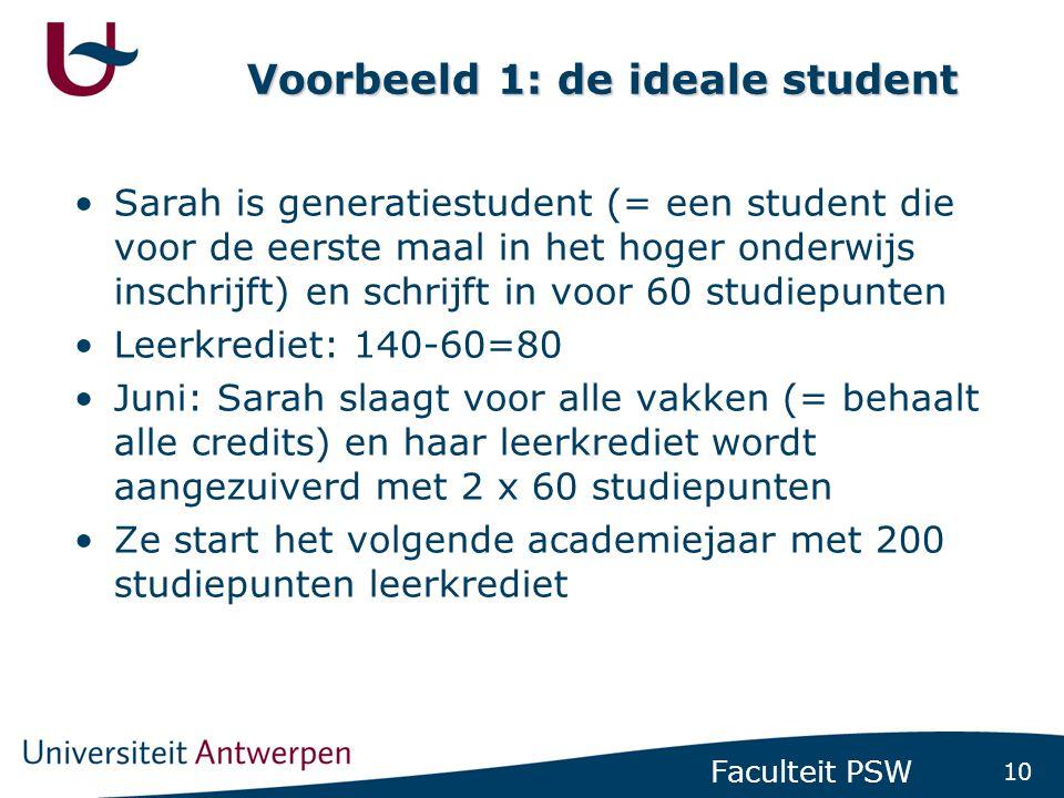 10 Faculteit PSW Voorbeeld 1: de ideale student •Sarah is generatiestudent (= een student die voor de eerste maal in het hoger onderwijs inschrijft) e
