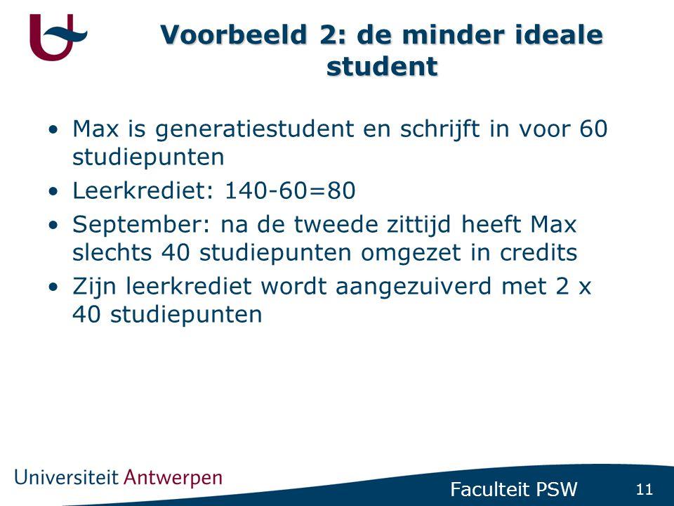11 Faculteit PSW Voorbeeld 2: de minder ideale student •Max is generatiestudent en schrijft in voor 60 studiepunten •Leerkrediet: 140-60=80 •September