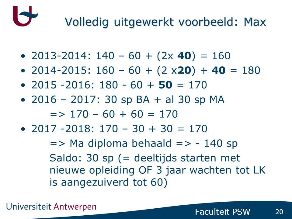 20 Faculteit PSW Volledig uitgewerkt voorbeeld: Max •2013-2014: 140 – 60 + (2x 40) = 160 •2014-2015: 160 – 60 + (2 x20) + 40 = 180 •2015 -2016: 180 -