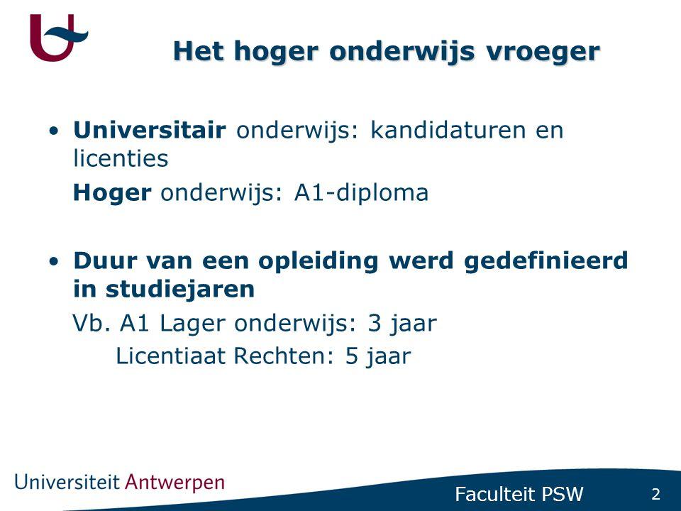 3 Faculteit PSW Hoger onderwijs nu •BA-MA systeem -Bacheloropleidingen (180 studiepunten) -Masteropleidingen (min.