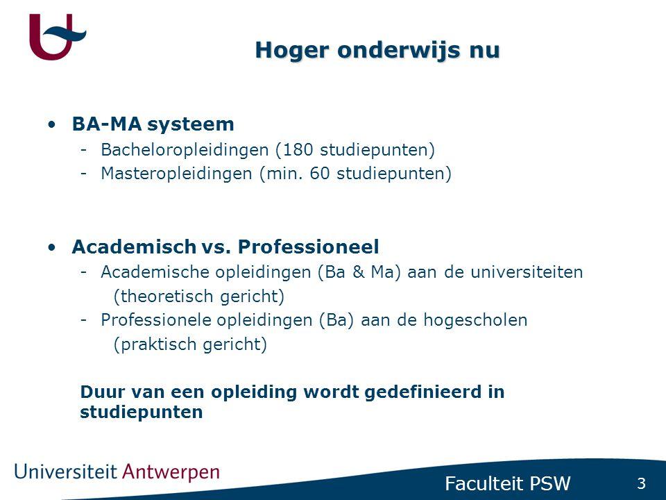 3 Faculteit PSW Hoger onderwijs nu •BA-MA systeem -Bacheloropleidingen (180 studiepunten) -Masteropleidingen (min. 60 studiepunten) •Academisch vs. Pr