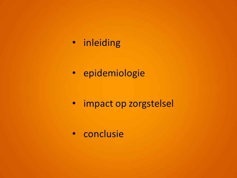 • inleiding • epidemiologie • impact op zorgstelsel • conclusie