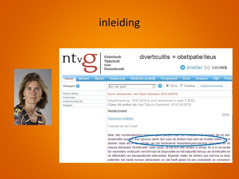 diverticulitis = obstipatie/ileus