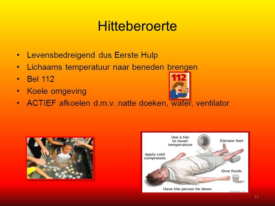 Hitteberoerte •Levensbedreigend dus Eerste Hulp •Lichaams temperatuur naar beneden brengen •Bel 112 •Koele omgeving •ACTIEF afkoelen d.m.v. natte doek