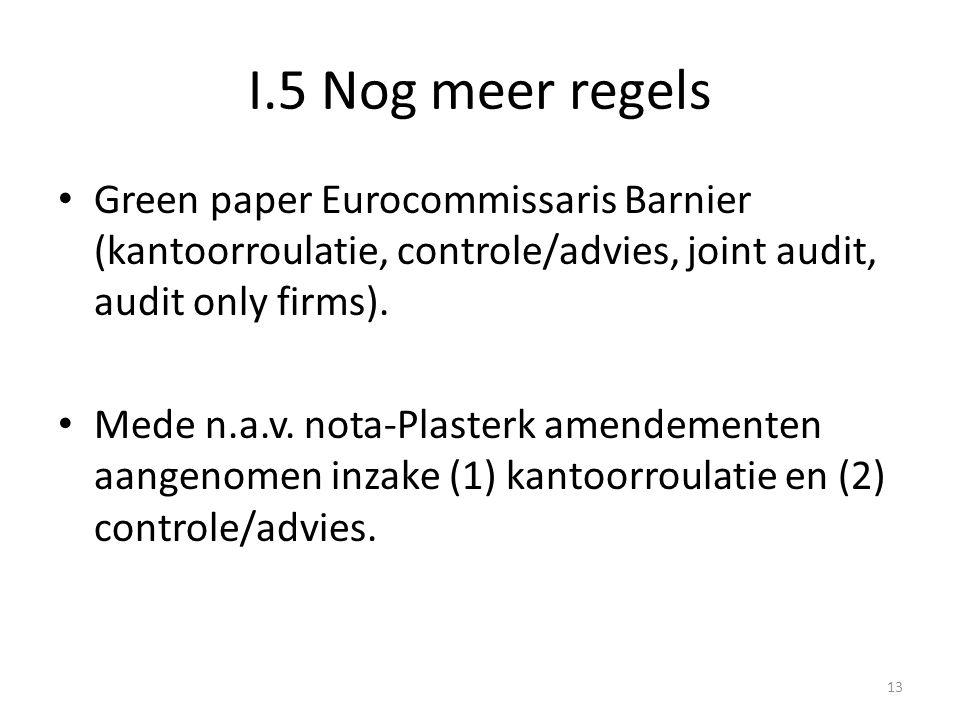 I.5 Nog meer regels • Green paper Eurocommissaris Barnier (kantoorroulatie, controle/advies, joint audit, audit only firms). • Mede n.a.v. nota-Plaste