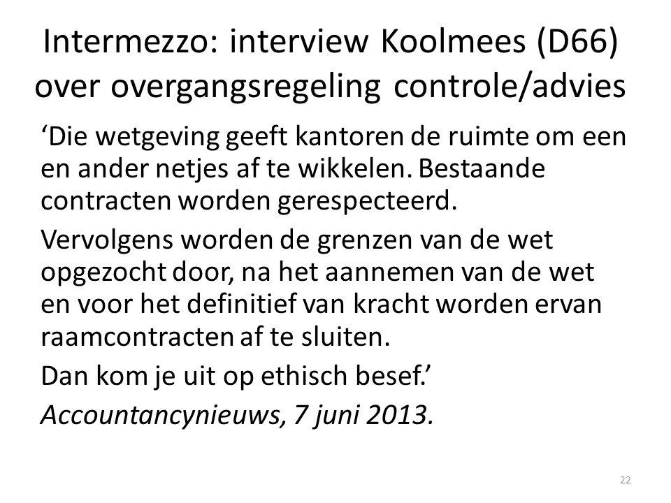 Intermezzo: interview Koolmees (D66) over overgangsregeling controle/advies 'Die wetgeving geeft kantoren de ruimte om een en ander netjes af te wikke