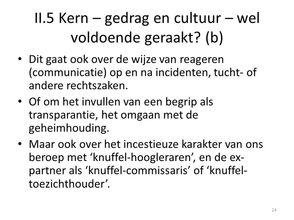 II.5 Kern – gedrag en cultuur – wel voldoende geraakt? (b) • Dit gaat ook over de wijze van reageren (communicatie) op en na incidenten, tucht- of and