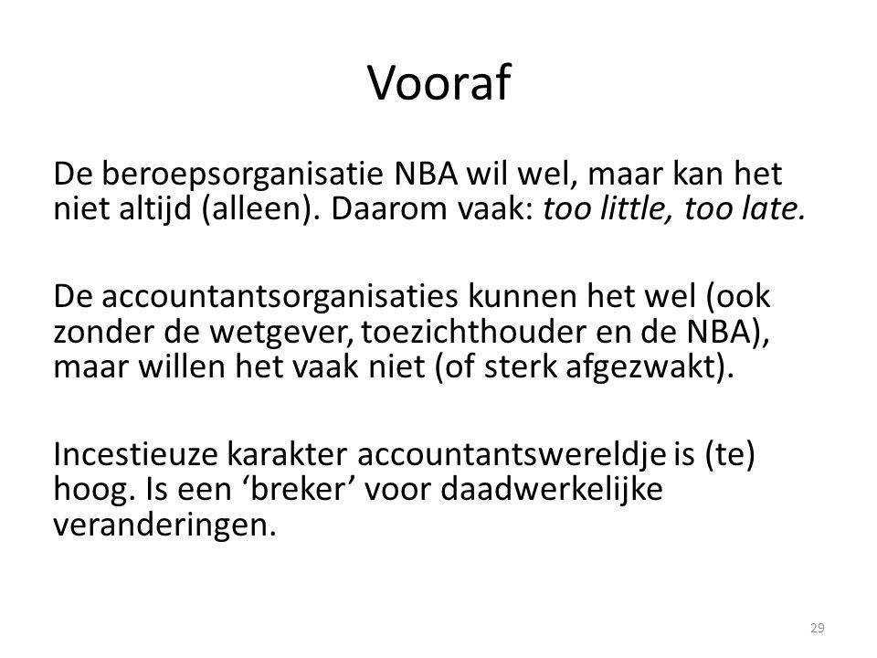 Vooraf De beroepsorganisatie NBA wil wel, maar kan het niet altijd (alleen). Daarom vaak: too little, too late. De accountantsorganisaties kunnen het