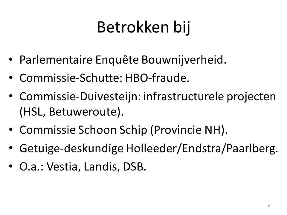 Betrokken bij • Parlementaire Enquête Bouwnijverheid. • Commissie-Schutte: HBO-fraude. • Commissie-Duivesteijn: infrastructurele projecten (HSL, Betuw