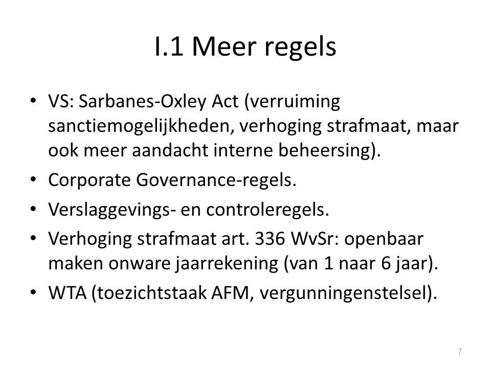 I.1 Meer regels • VS: Sarbanes-Oxley Act (verruiming sanctiemogelijkheden, verhoging strafmaat, maar ook meer aandacht interne beheersing). • Corporat