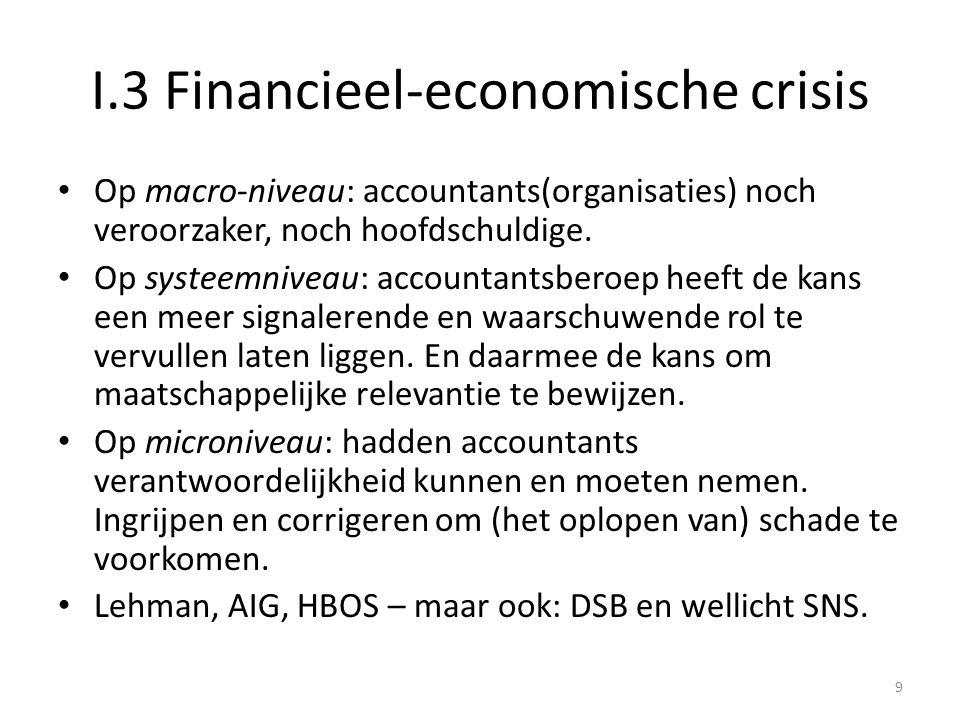 I.3 Financieel-economische crisis • Op macro-niveau: accountants(organisaties) noch veroorzaker, noch hoofdschuldige. • Op systeemniveau: accountantsb
