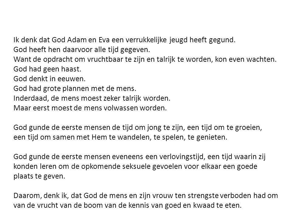 Ik denk dat God Adam en Eva een verrukkelijke jeugd heeft gegund. God heeft hen daarvoor alle tijd gegeven. Want de opdracht om vruchtbaar te zijn en