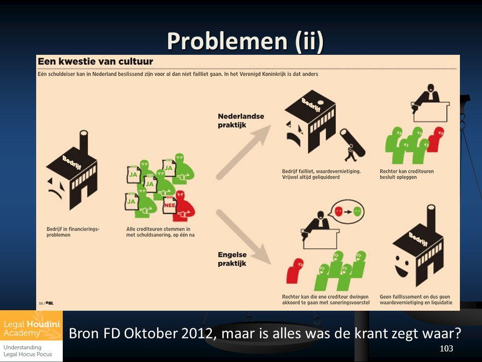 103 Problemen (ii) Bron FD Oktober 2012, maar is alles was de krant zegt waar?
