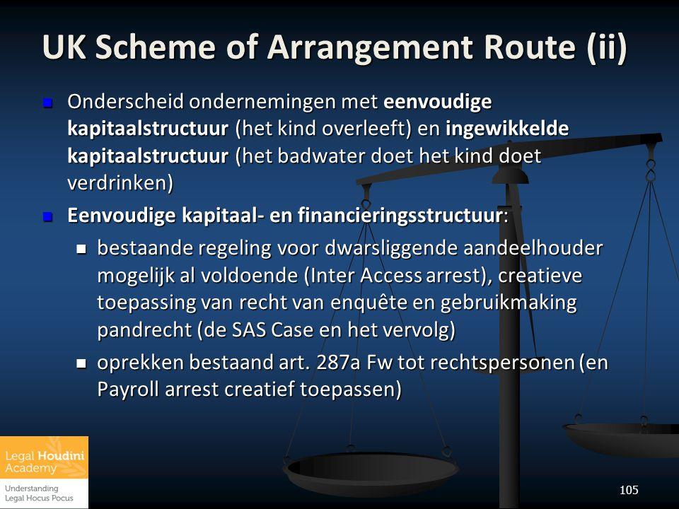 105 UK Scheme of Arrangement Route (ii)  Onderscheid ondernemingen met eenvoudige kapitaalstructuur (het kind overleeft) en ingewikkelde kapitaalstru