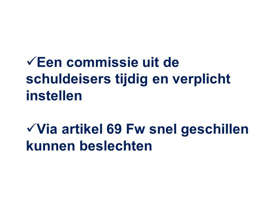  Een commissie uit de schuldeisers tijdig en verplicht instellen  Via artikel 69 Fw snel geschillen kunnen beslechten