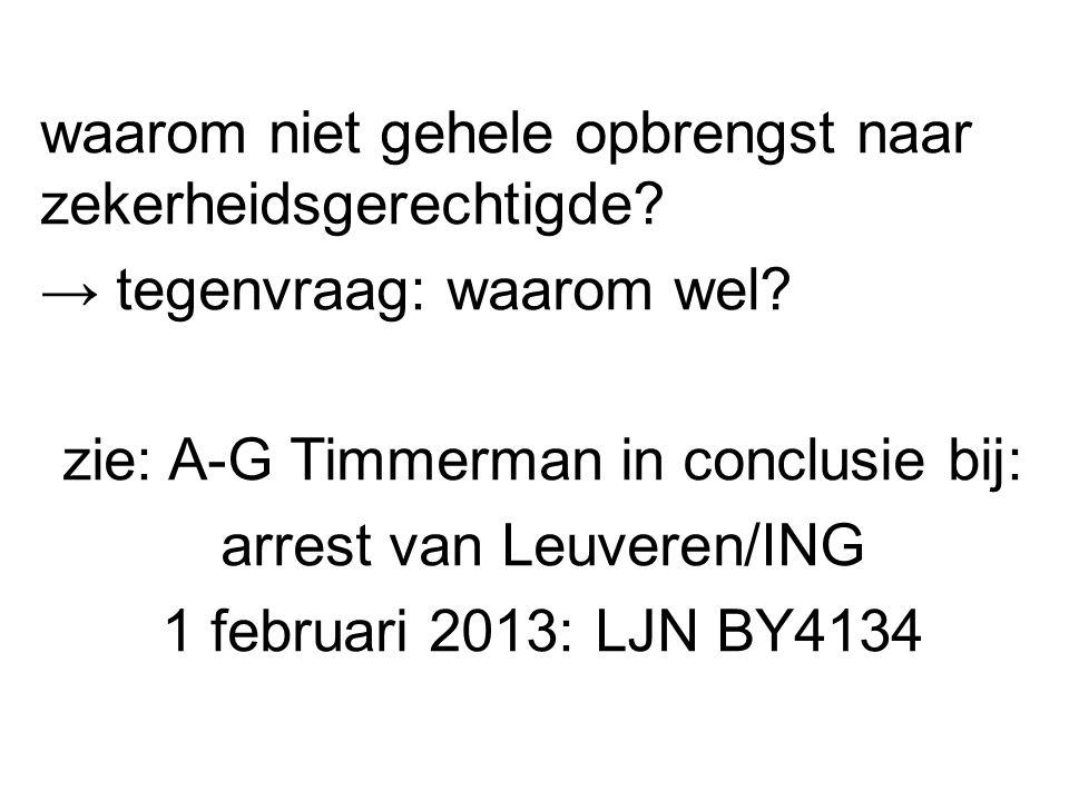 waarom niet gehele opbrengst naar zekerheidsgerechtigde? → tegenvraag: waarom wel? zie: A-G Timmerman in conclusie bij: arrest van Leuveren/ING 1 febr