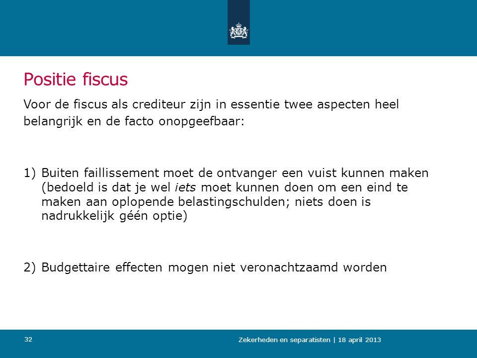Positie fiscus Voor de fiscus als crediteur zijn in essentie twee aspecten heel belangrijk en de facto onopgeefbaar: 1)Buiten faillissement moet de on