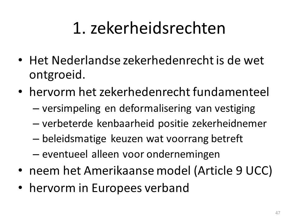 1. zekerheidsrechten • Het Nederlandse zekerhedenrecht is de wet ontgroeid. • hervorm het zekerhedenrecht fundamenteel – versimpeling en deformaliseri