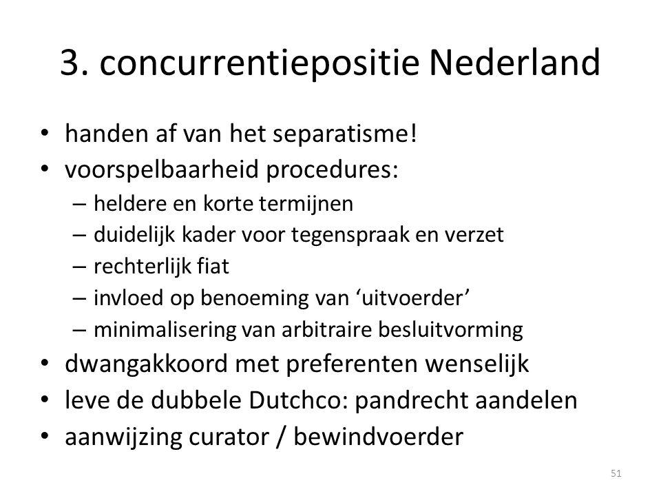 3. concurrentiepositie Nederland • handen af van het separatisme! • voorspelbaarheid procedures: – heldere en korte termijnen – duidelijk kader voor t