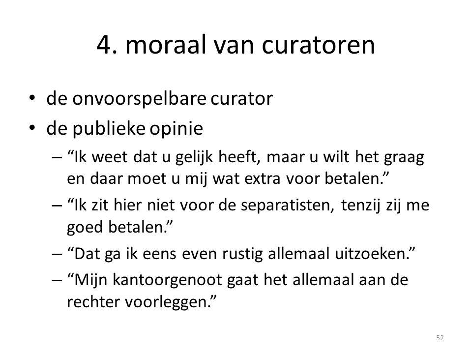 """4. moraal van curatoren • de onvoorspelbare curator • de publieke opinie – """"Ik weet dat u gelijk heeft, maar u wilt het graag en daar moet u mij wat e"""