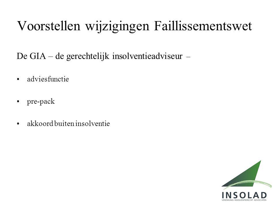 Voorstellen wijzigingen Faillissementswet De GIA – de gerechtelijk insolventieadviseur – •adviesfunctie •pre-pack •akkoord buiten insolventie