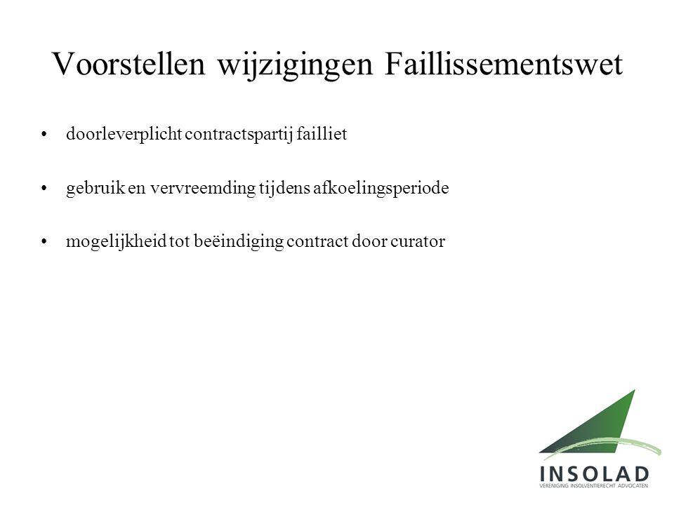 Voorstellen wijzigingen Faillissementswet •doorleverplicht contractspartij failliet •gebruik en vervreemding tijdens afkoelingsperiode •mogelijkheid t
