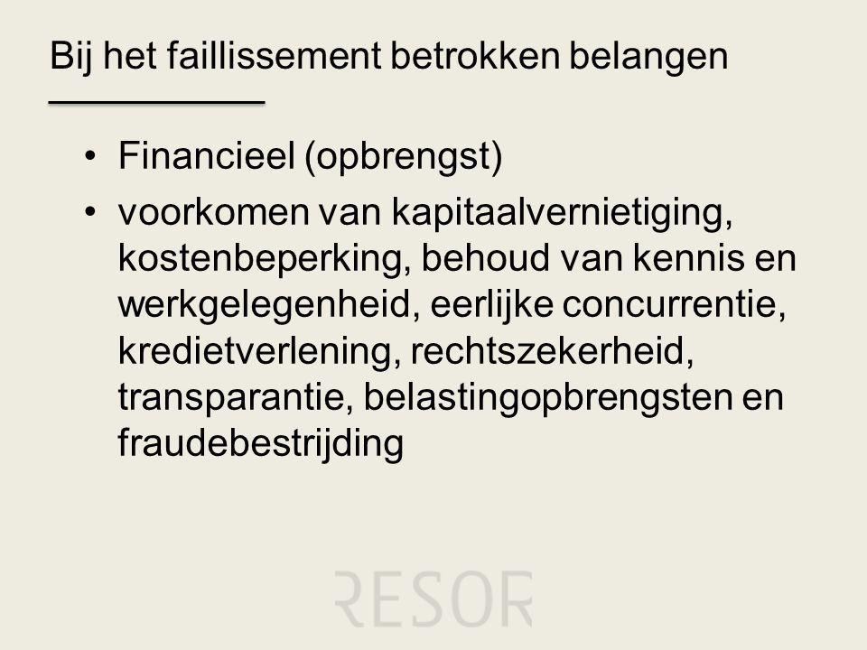 Bij het faillissement betrokken belangen •Financieel (opbrengst) •voorkomen van kapitaalvernietiging, kostenbeperking, behoud van kennis en werkgelege