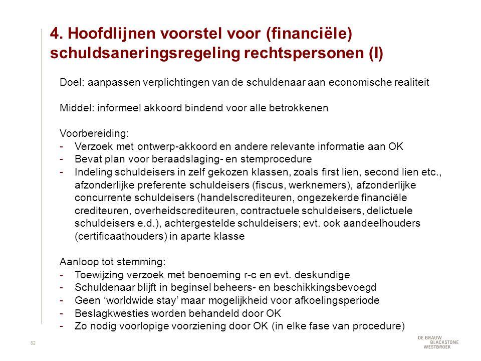 4. Hoofdlijnen voorstel voor (financiële) schuldsaneringsregeling rechtspersonen (I) Doel: aanpassen verplichtingen van de schuldenaar aan economische