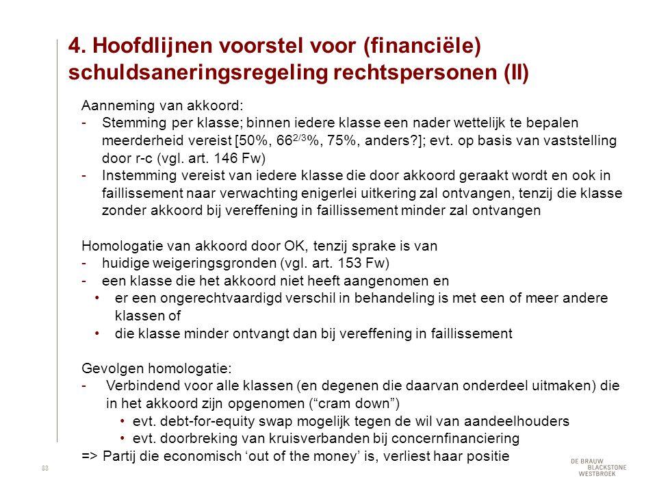 4. Hoofdlijnen voorstel voor (financiële) schuldsaneringsregeling rechtspersonen (II) Aanneming van akkoord: Stemming per klasse; binnen iedere klass
